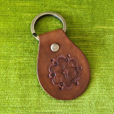 Floral Leather Key Ring