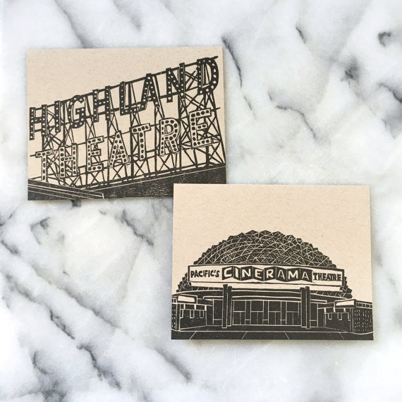 Los Angeles Eastside Neighborhood Greeting Cards, set of 4