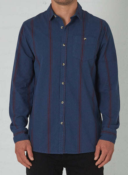 Men At Work L/S Stripe Shirt in Faded Navy