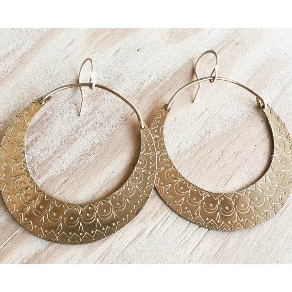 Many Moons Brass Hoops