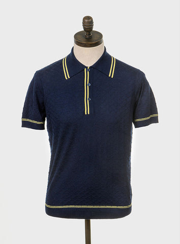 McGriff Knitted Polo Shirt Navy Blue