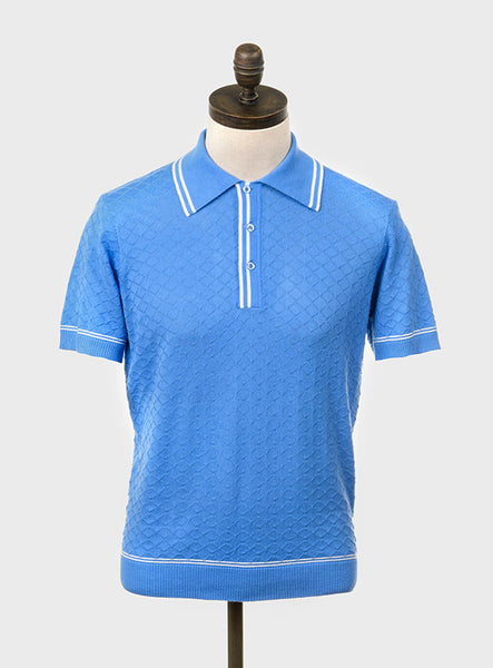 McGriff Knitted Polo Shirt Sky Blue