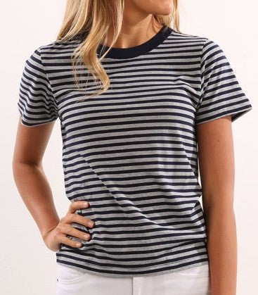 Old Mate Stripe Crew Tee Navy