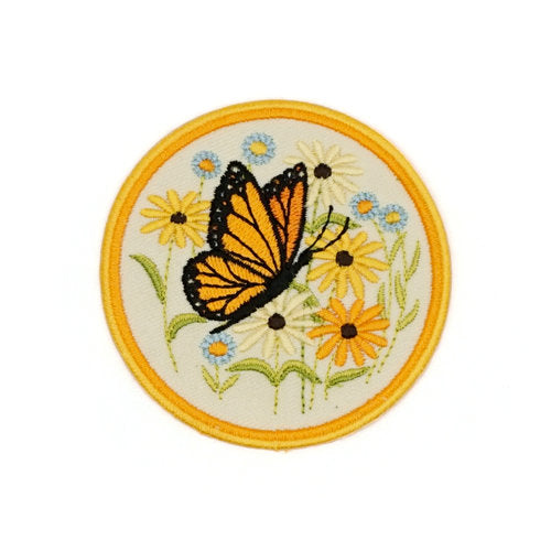Butterfly Embroidered Patch Natural White