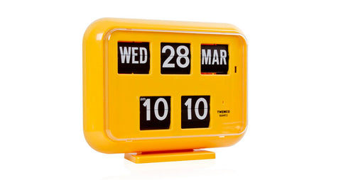 Retro Mod Calendar Wall/Desk Flip Clock Yellow