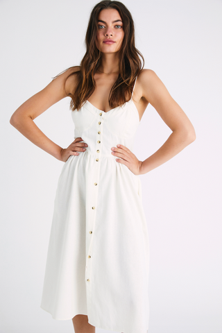 Eve Linen Dress Vintage White