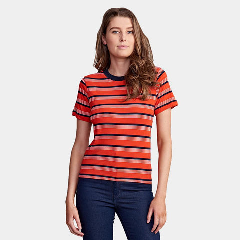Stripey Crew Tee Flame Stripe