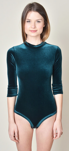 Mock Turtle Neck Bodysuit Green Velvet