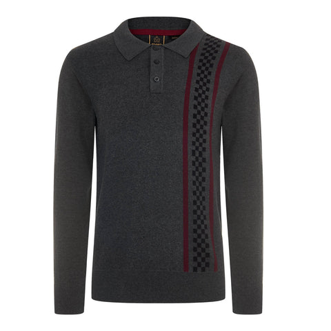 Tathwell Knitted Striped Polo L/S Mineral Charcoal
