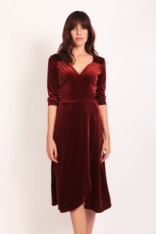Velvet Wrap Dress Rust