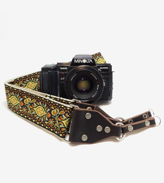 Hemp Camera Strap Yellow Peacock Feathers Woven Ribbon on Organic Hemp Webbing and Leather Ends