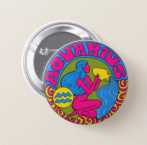 Aquarius Zodiac Button Pin