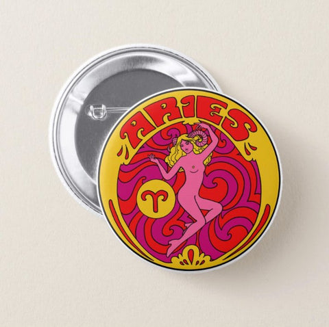 Aries Zodiac Button Pin