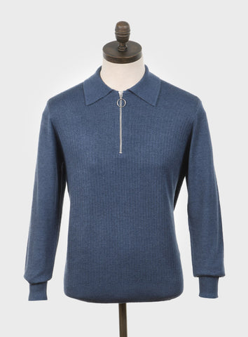 Harlem Knitted Polo Shirt Blue