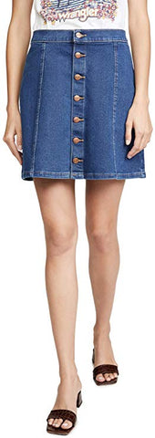 Button Front Mini Skirt Blue Jay