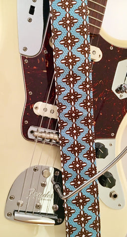 Turquoise & Brown Knot Guitar Strap
