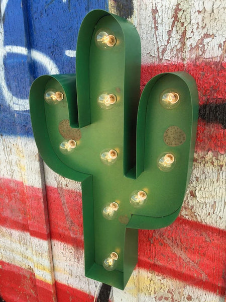 Marquee Green Cactus Sign