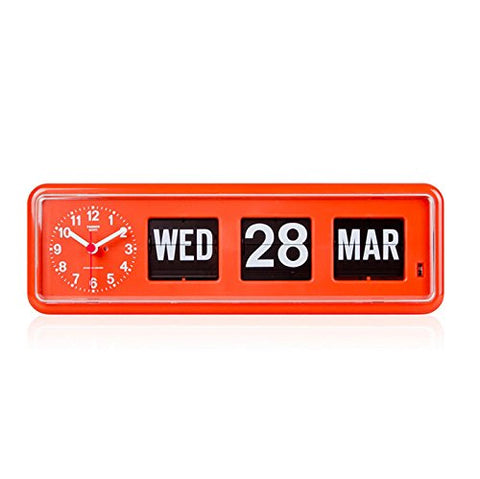 Calendar Wall/Desk Flip Clock Orange