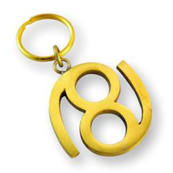 Brass Zodiac Key Ring Cancer