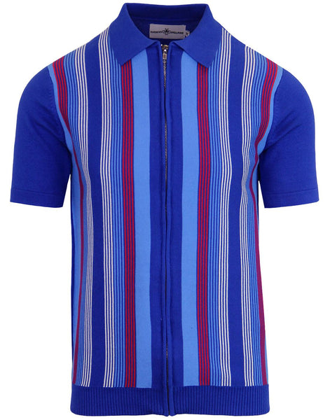 Capitol Blue Stripe Zip Polo