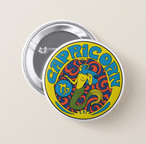 Capricorn Zodiac Button Pin