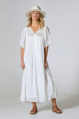 Celia Maxi Dress with Crochet Natural