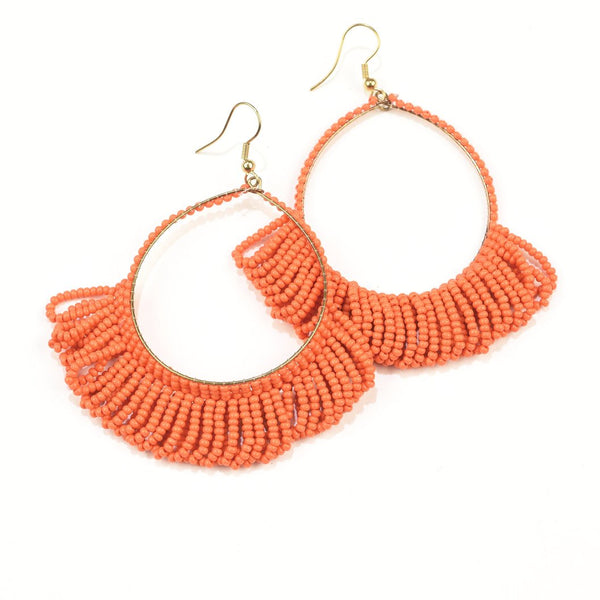 Coral Seed Bead Earring Hoop with Fringe