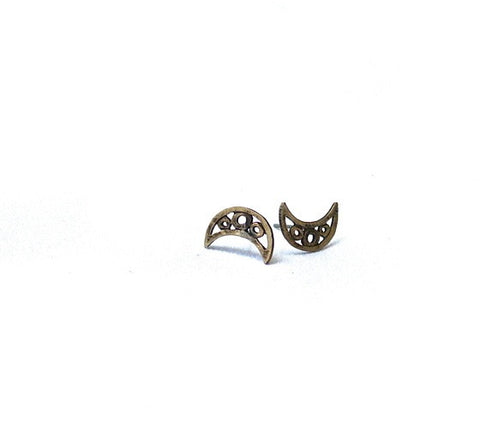 Crescent Post Earrings Silver