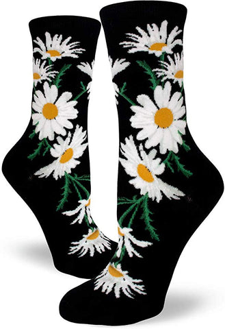 Crazy for Daisies Women's Crew Socks Black