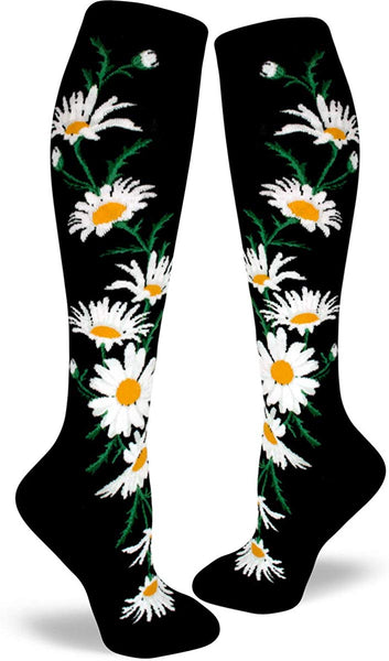 Crazy for Daisies Knee High Socks Black