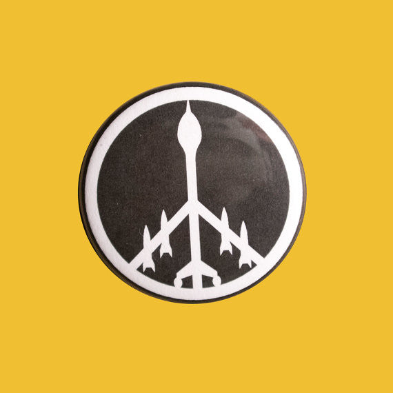 Drone Peace Symbol Button Badge Pin