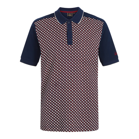 Elvin Geo Print Polo Navy