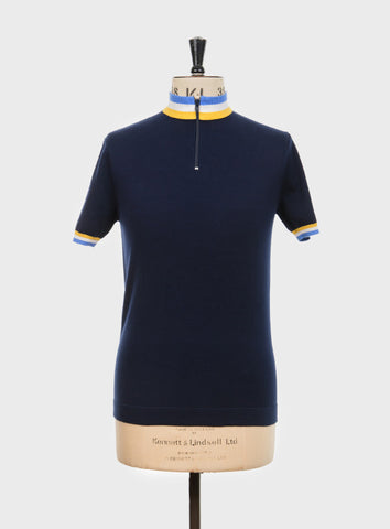 Felice Knitted Cycling Top Navy Blue