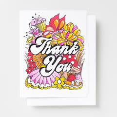 Thank You Floral Risograph Card Set