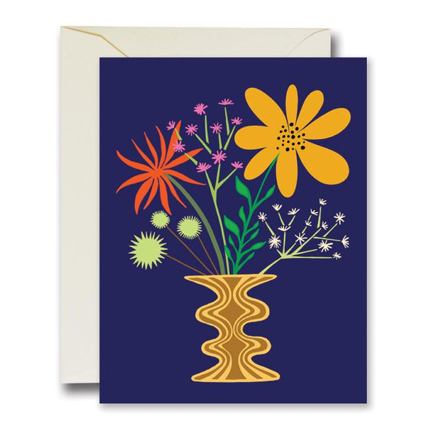 Friendly Flowers Card Navy
