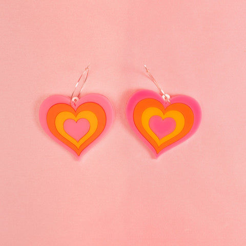 Free Love Hoop Earrings in Orange & Pink