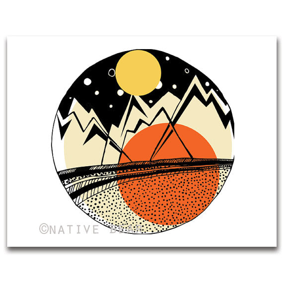 Geometric Mountains Print 11x14