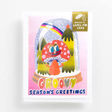 Groovy Season's Greetings Lapel Pin Card