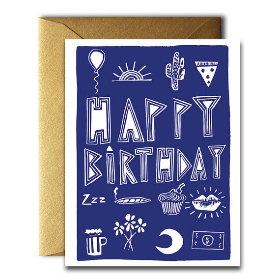 Happy Birthday Stuff Card Navy