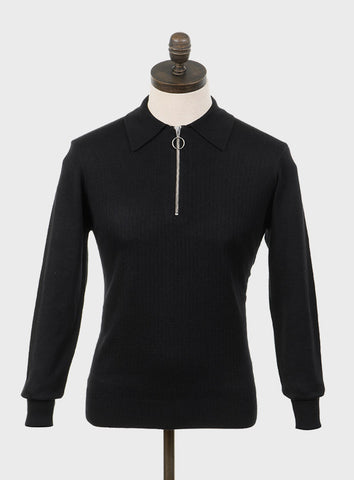 Harlem Knitted Polo Shirt Black