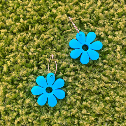 Mini Hazey Dazey Hoop Earrings in Bodacious Blue