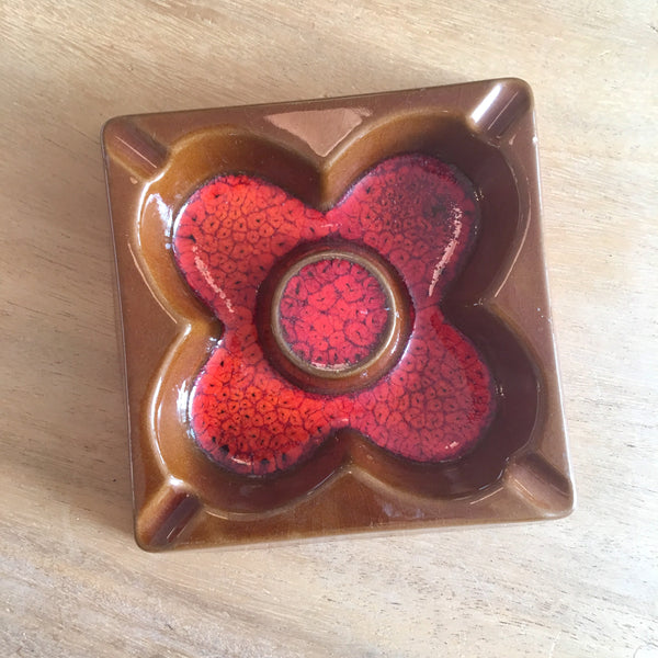 Ceramic Ashtray Brown/Orange 1970s Vintage
