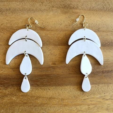 White Clay Moon & Teardrop Earrings