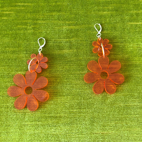 Double Dazey Chain Earrings Transparent Orange