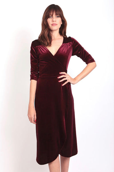Velvet Wrap Dress Maroon