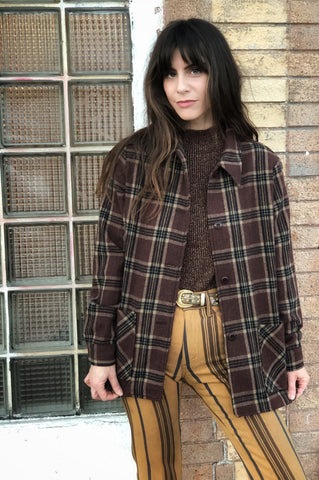 Wool Jacket Brown Plaid