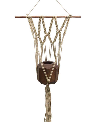 "36"" Macrame Plant Hanger Wall Natural"