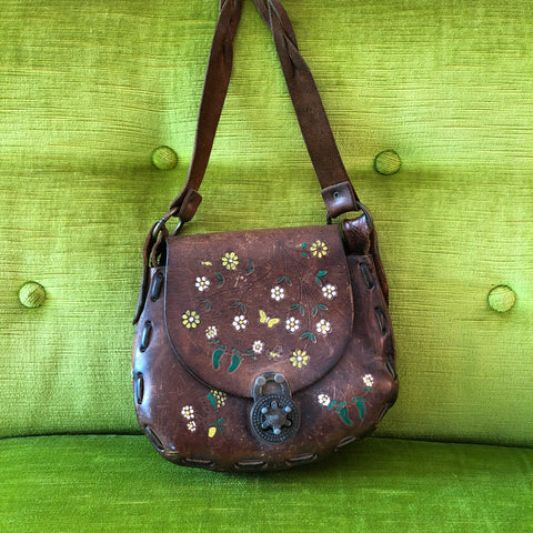 Small 1970s Brown Leather Purse