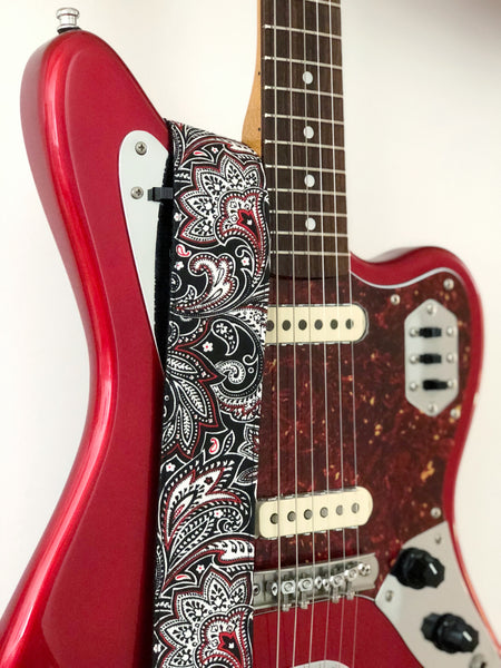 Black & Red Paisley Guitar Strap