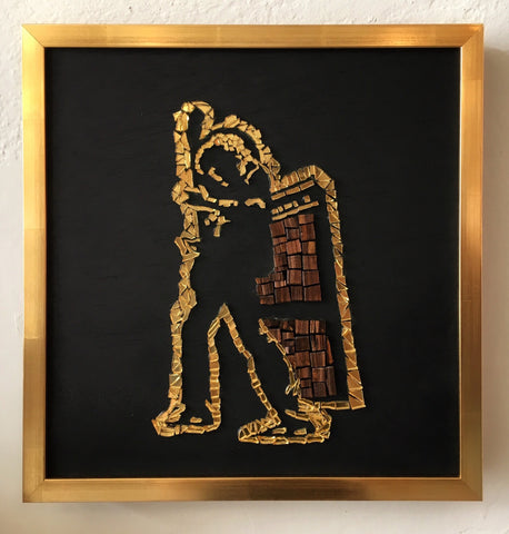 T Rex Mosaic Tile Art Framed